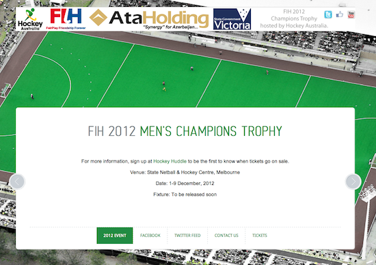 FIH Hockey Aus - Champions Trophy Website - Little Red Jet